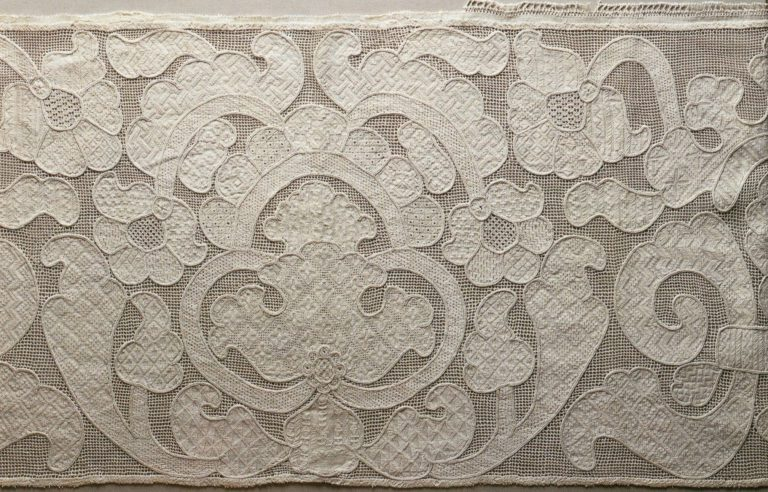 Detail of embroidered valance (gold sewing techniques). <br/>18th century
