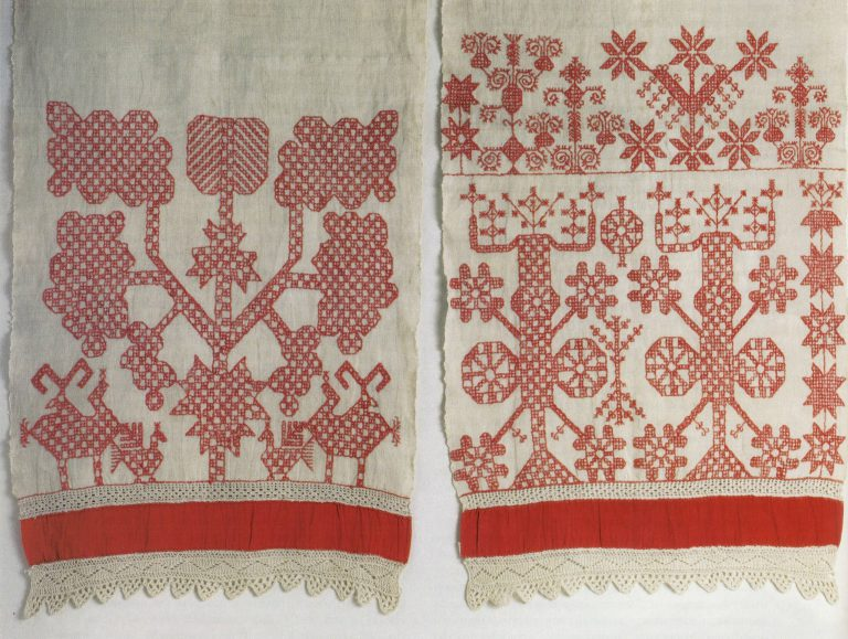 Embroidered towel. <br/>1870 year