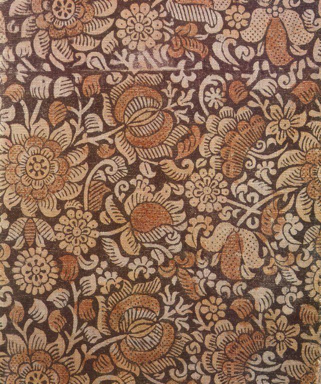 Набивная  ткань. Фрагмент. <br/>Конец 17 века