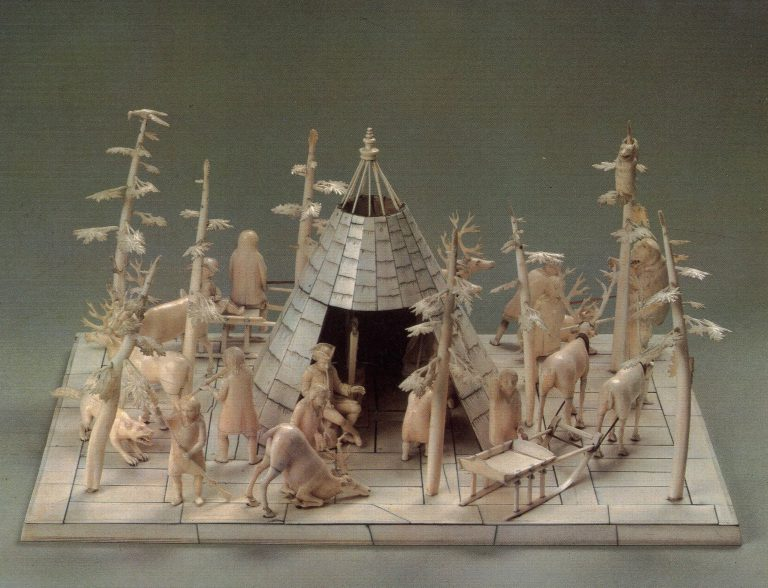 """Nenets camp"" sculptural group . Front view. <br/>18th century"