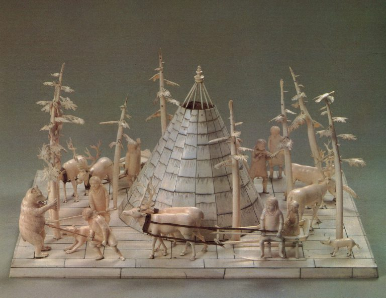 """Nenets camp"" sculptural group. Back view. 18th century"