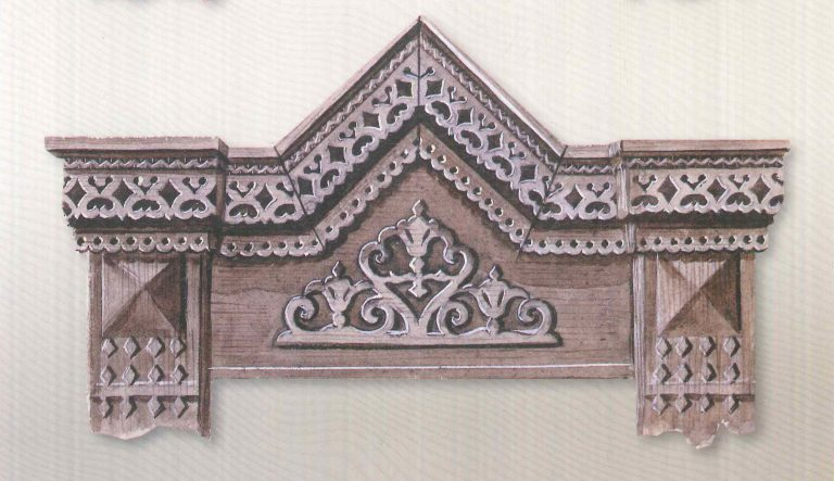 Window carved hood mould pediment. <br/>First half of 20th century