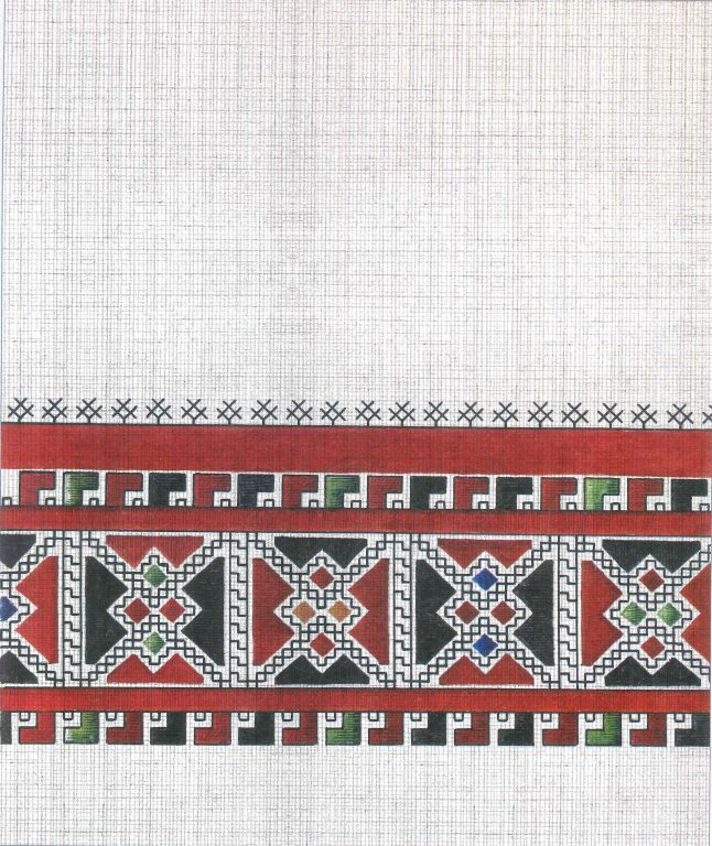 Bridegroom kerchief's pattern. Fragment. <br/>First half of 19th century