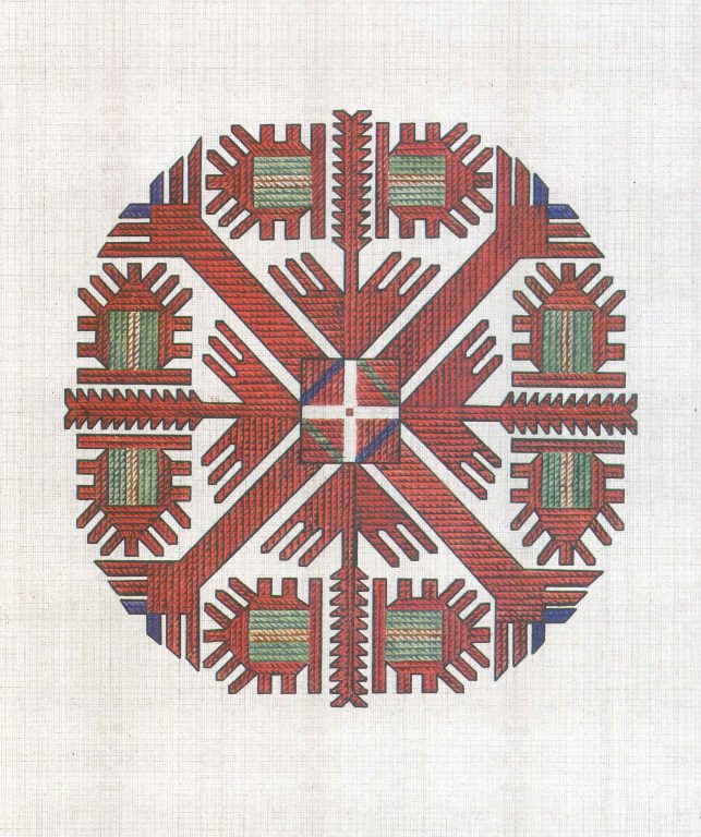 Female shirt's pectoral pattern. <br/>18th century