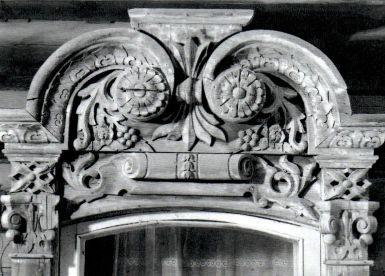 Window frame decorated with carved roses and grapes. <br/>Second half of 19th century - early of 20th century