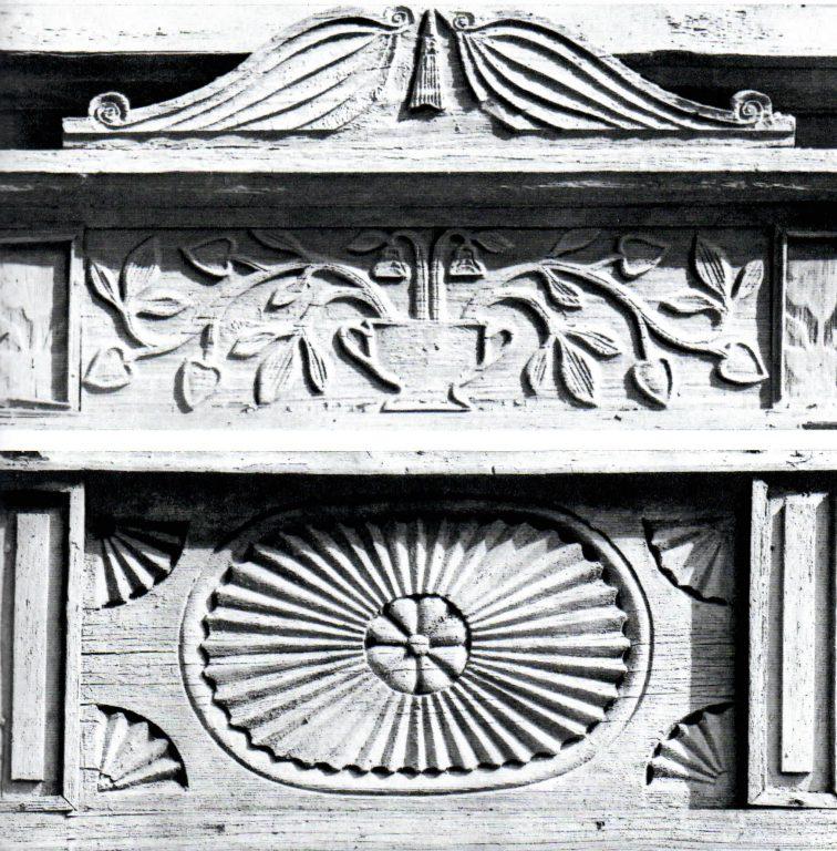 Наличник первого этажа и подоконная доска второго этажа. <br/>1854 год
