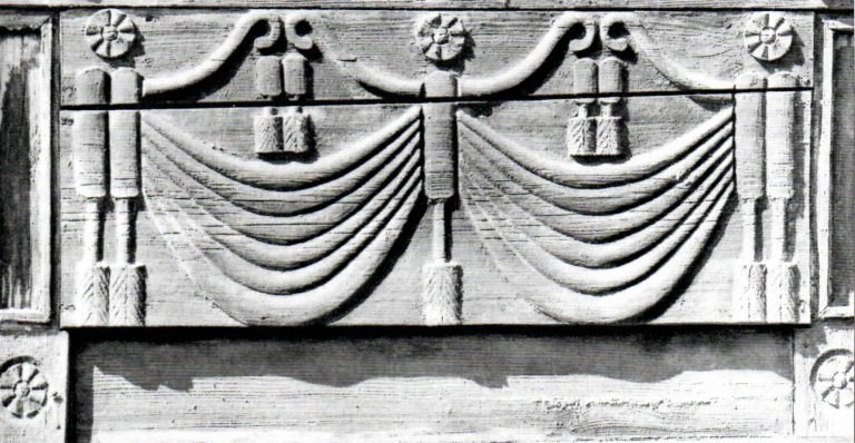 "Window ledge. ""Curtain with tassels"" decoration . <br/>Second half of 19th century"