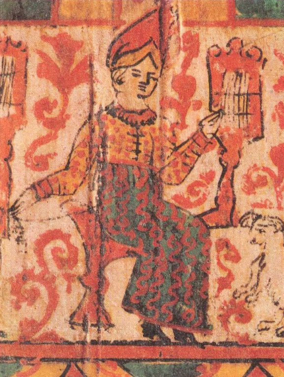 Detail showing peasant women spinning and embroidering. <br/>19th century