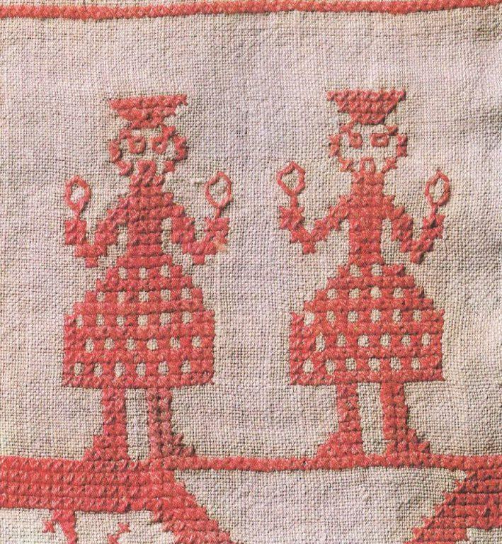Мужские фигуры. Фрагмент вышивки. Вторая половина19 века