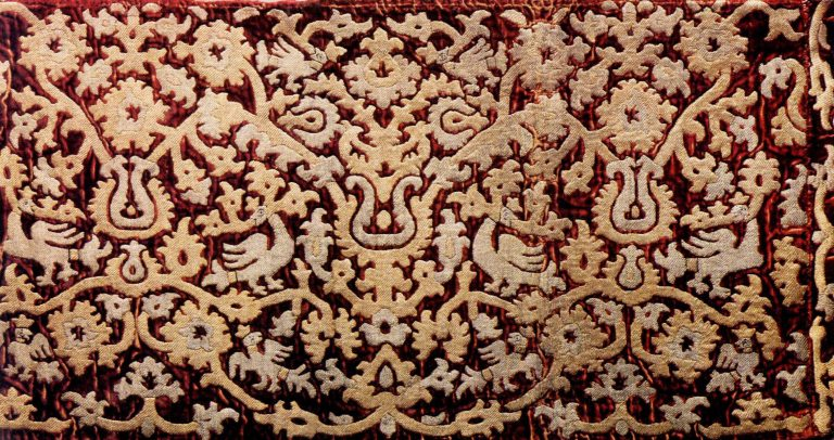 Sampler of gold embroidery. <br/>17th century