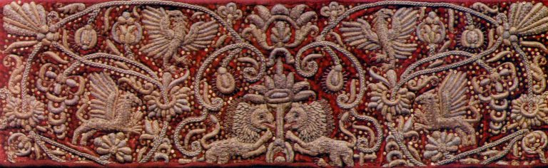 Sampler of gold embroidery. <br/>Late 17th or early 18th century