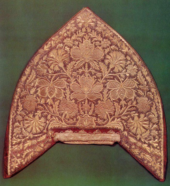 Women's kokoshnik head-band (rear side) . Late 18th century