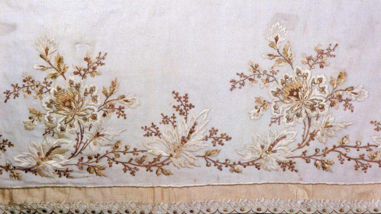 Detail of a ball-dress hem. <br/>Late 18th century