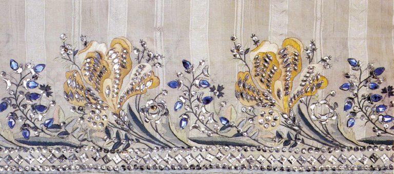 Detail of a ball-dress hem. <br/>Last quarter of the 18th century