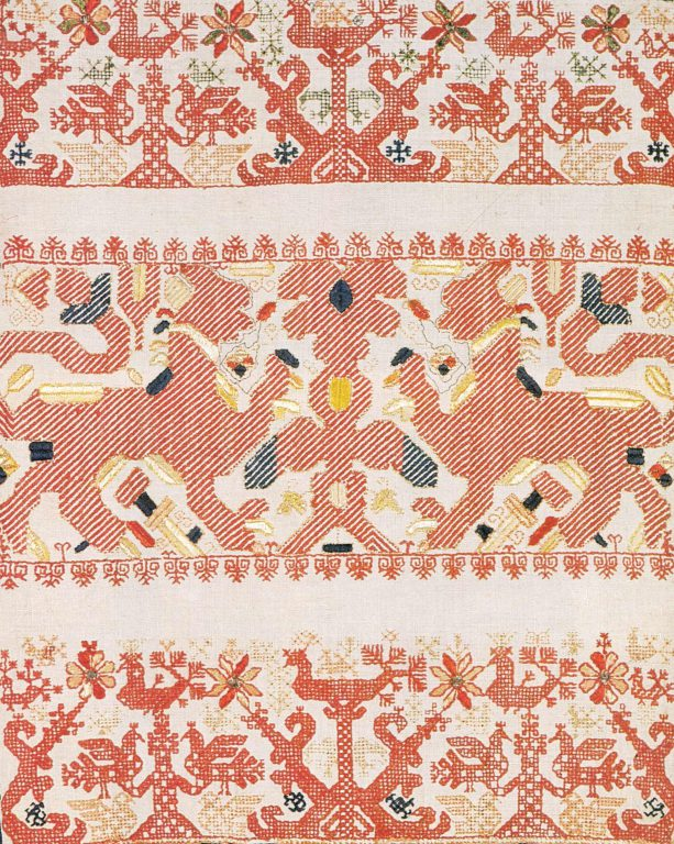 Edge of a towel. <br/>Mid-19th century