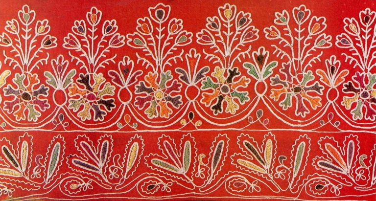 Detail of a bed valance. <br/>Early 20th century