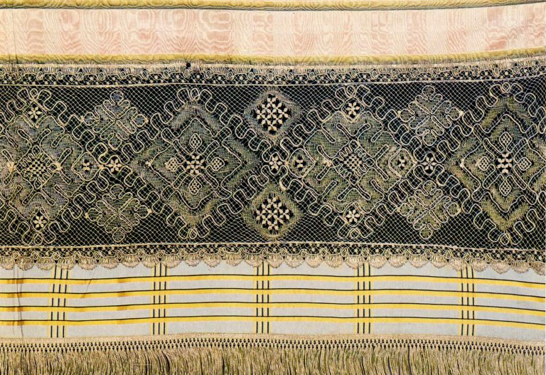 Fragment of a bed valance. Silver lace. <br/>Late 18th century