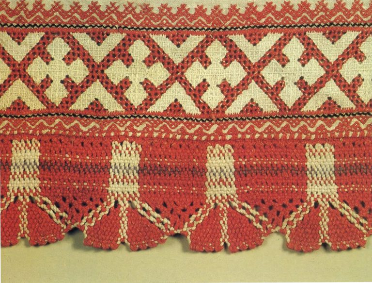 Hem of apron. Detail. <br/>Late 19th century