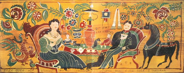 "Painted board ""Tea-drinking and household"". . <br/>1936 year"