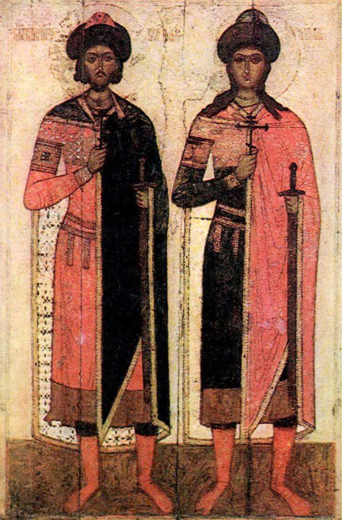 Князья Борис и Глеб, предательски убитые Святополком. XV век. <br/>15 век