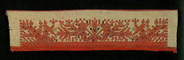 "A ""maiden"" with birds on the towel end. <br/>Second half of   19th century"