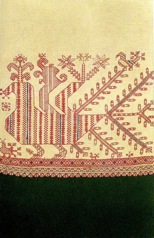 A peacock-hen image on the skirt of a woman's shirt. <br/>First half of   19th century