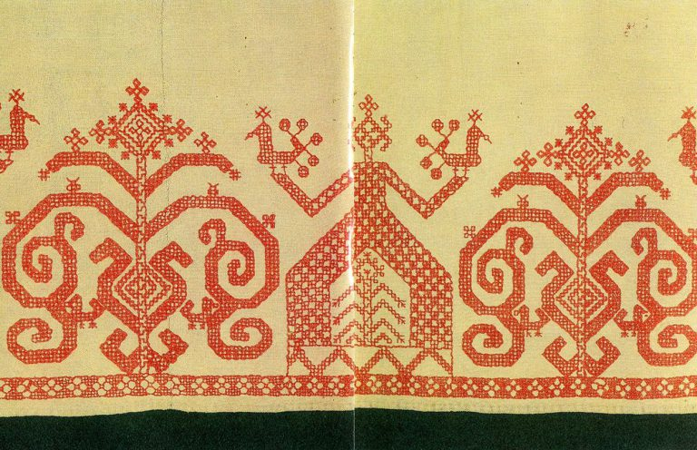 """Maiden mothers"" and a ""maiden"" on the hem of an Olonets woman's shirt. <br/>Second half of   19th century"