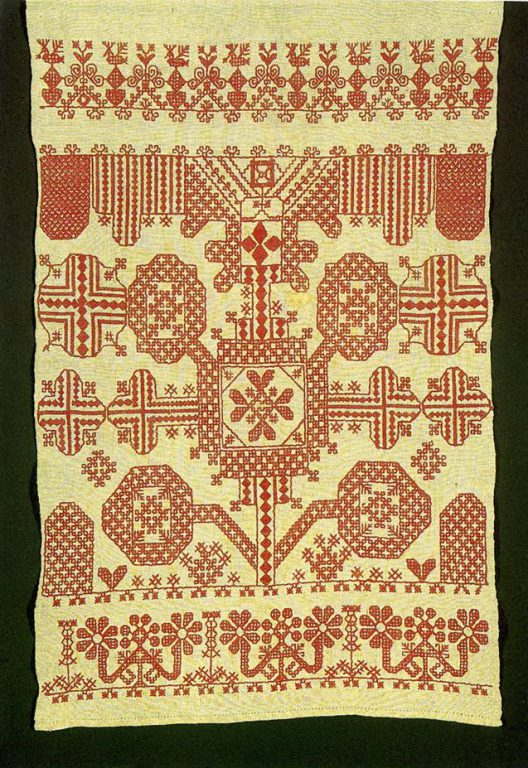 The Tree of Life on a towel edge. <br/>Second half of   19th century