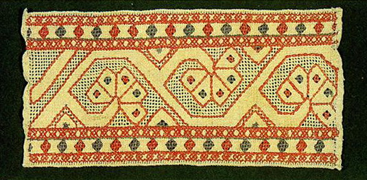 Solar signs and floral motifs on a towel edge. <br/>Second half of   19th century