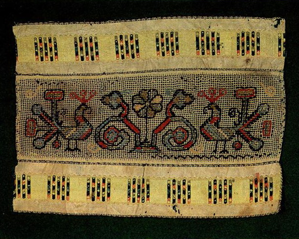 Peacocks and the Tree of Life on towel edge (Tambov). <br/>Second half of   19th century
