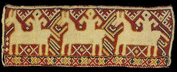 Всадницы на прошве калужского полотенца. <br/>Вторая половина 19 века