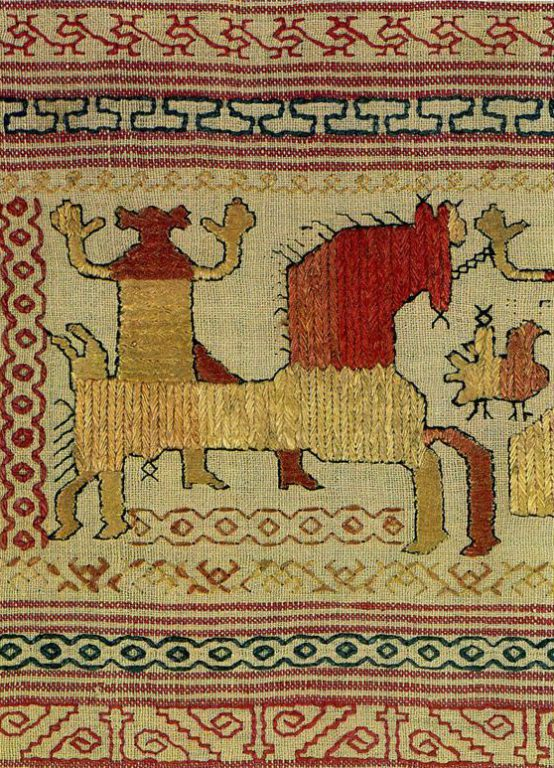 """Spring Welcome"" motif on a Kargapol towel edge. Detail. <br/>Early 19th century"