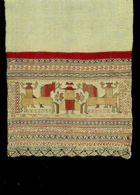 """Spring Welcome"" motif on a Kargapol towel edge. Early 19th century"