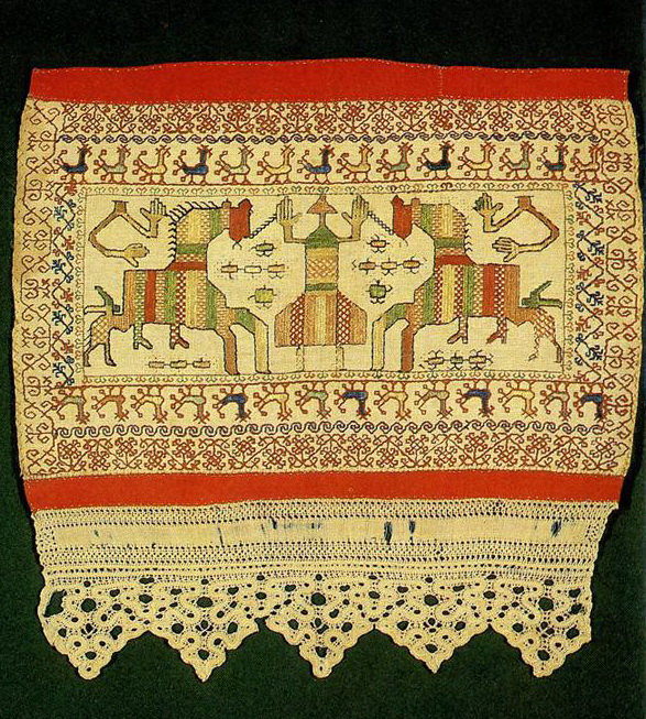 """Spring Welcome"" and ""Solstice"" motif on a Kargapol towel edge. <br/>First half of   19th century"