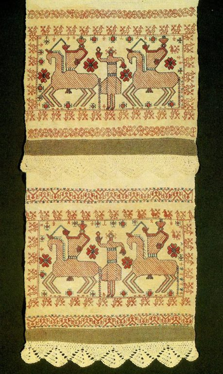 """Spring Welcome"" and ""Solstice"" motifs on a Kargapol towel edges. Second half of   19th century"