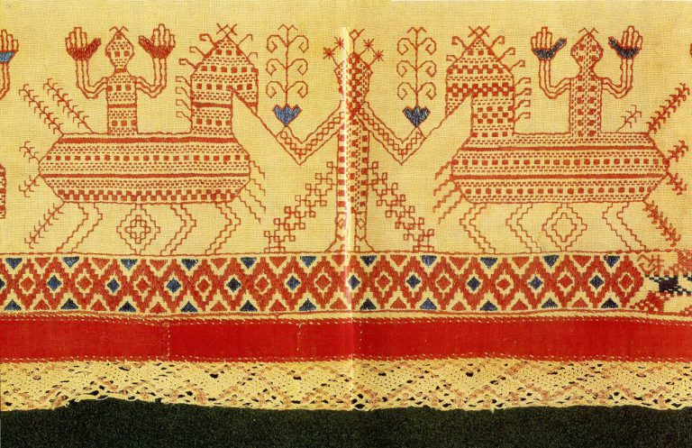 """Spring Welcome"" motif on the hem of an Olonets woman's shirt. <br/>Early 19th century"