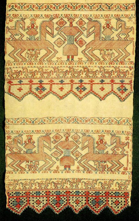 """Solstice"" motif on Kargapol towel edge. <br/>Second half of   19th century"