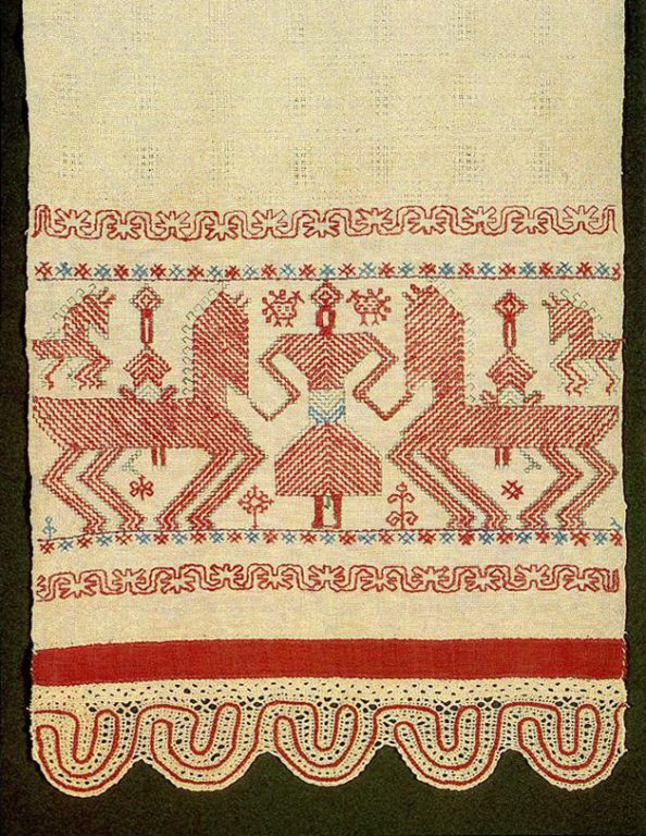 """Solstice"" motif on Kargapol towel edge. Second half of   19th century"
