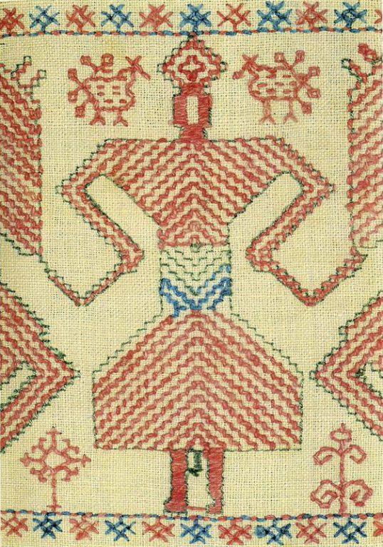 """Solstice"" motif on Kargapol towel edge. Detail. <br/>Second half of   19th century"