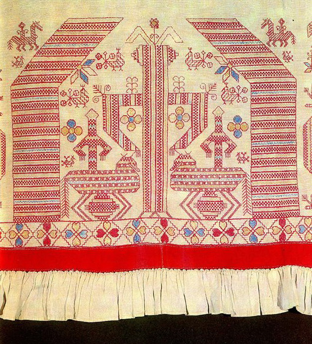 """Solstice"" motif on Kargopol coverlet valance. First half of   19th century"