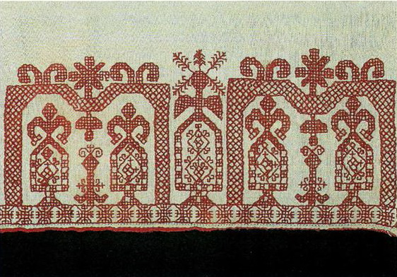 """Sun tower"" on Tver towel edge. Second half of   19th century"