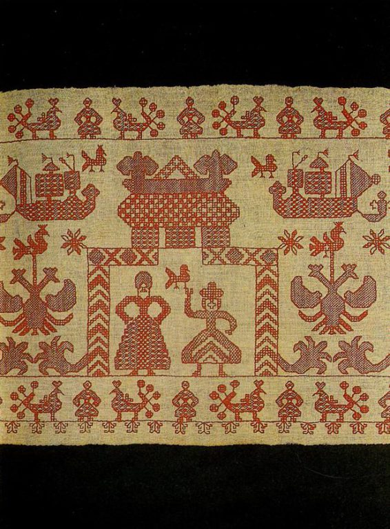 """Sun tower"" on on coverlet valance. Second half of   19th century"