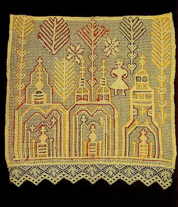 """Sun tower"" on Yaroslavl towel edge. Late 19th or early 20th century"