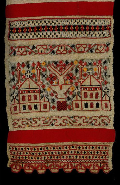 """""""Sun tower"""" on Tula towel edge. <br/>Late 19th or early 20th century"""