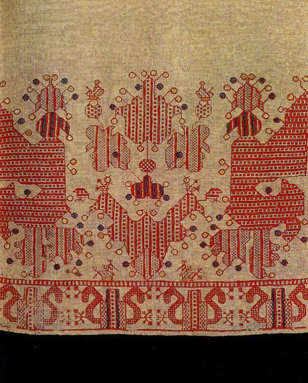 """Sun chariot"" with birds on the hem of a Kargapol woman's skirt. <br/>First half of   19th century"