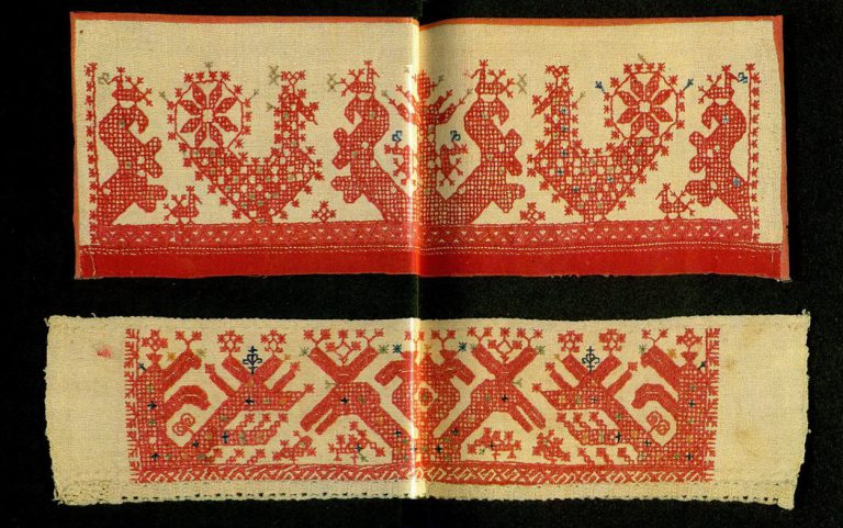 """Sun chariot"" on Arkhangelsk towel edge. <br/>Mid-19th century"
