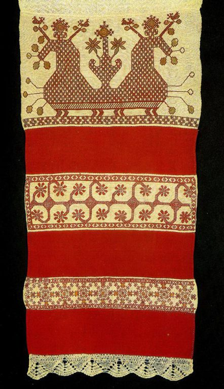 """Sun chariots"" with birds and ""maiden"" on  towel . <br/>Second half of   19th century"