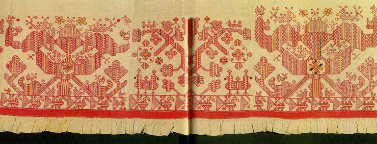 "Tree of Life, ""sun chariot"", ""maidens"" and various solar symbols on the hem of a woman's shirt. <br/>Second half of   19th century"