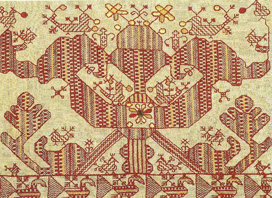 "Transformation of the ""sun chariot"" motif on a bed valance. Second half of   19th century"