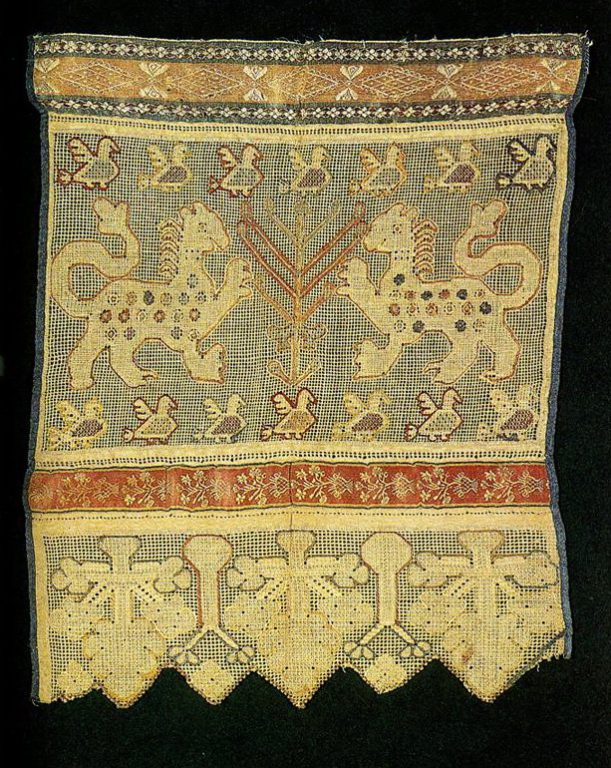 "Tree of Life and ""maiden mother"" with lions (or panhers) on apron. <br/>Late 18th or early 19th century"